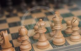 wooden chess game in store