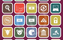 Forex flat icons on red background