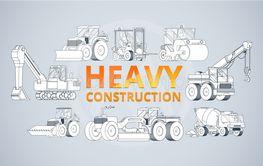 Heavy construction machine background. vector machinery...
