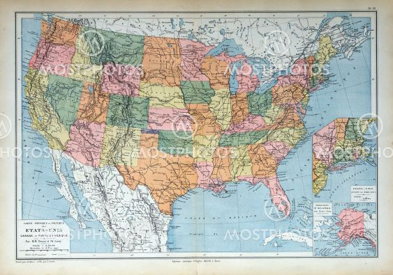 Gamle Kort Over 1883 Usa Fra Michael Roberts Mostphotos