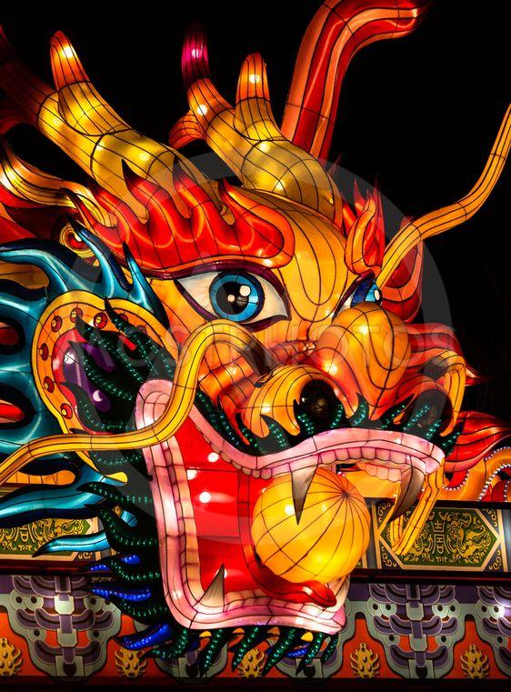 Illuminated Asian Dragon Face