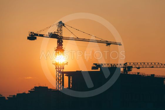 Construction site in sunset with a view