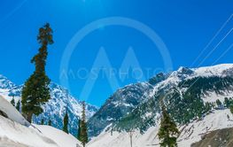 Beautiful  snow covered mountains landscape Kashmir...