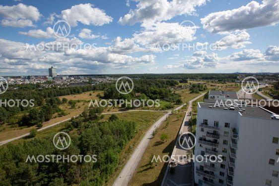 Utsikt över bostadsområde i Spånga.