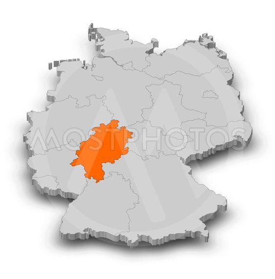 Map - Germany, Hesse - 3D-Illustration