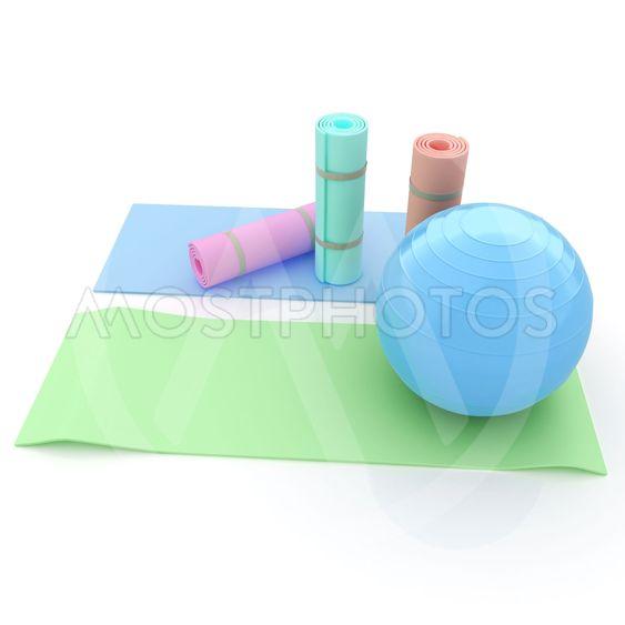 karemat and fitness ball. 3D illustration