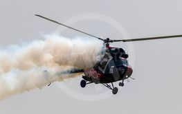 Mi - 2 Russian military helicopter in flight.