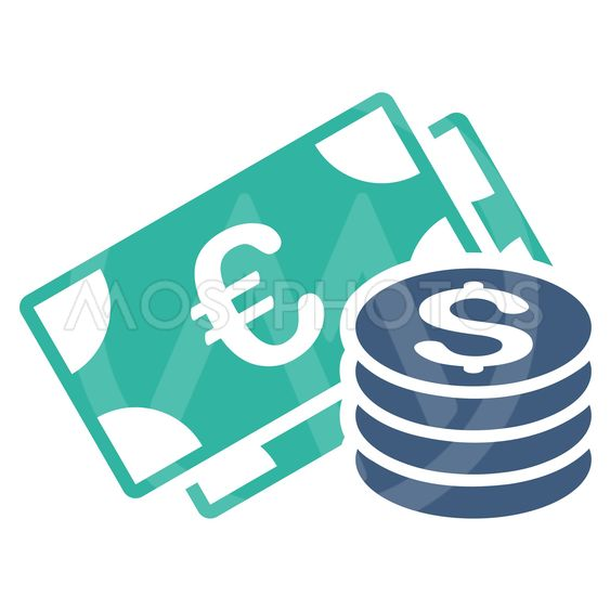 Dollar and Euro Cash Flat Vector Icon