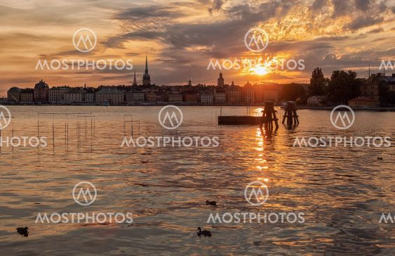 Stockholm city at sunset.