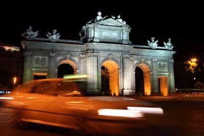 Madrid night scene at Puerta de Alaca