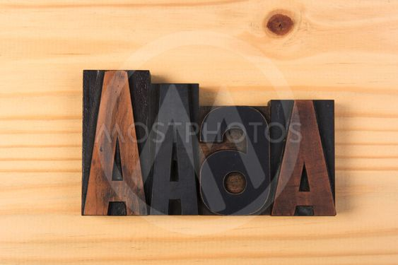 ABC Vintage wooden letters on wood