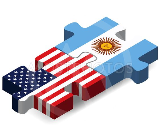 USA and Argentina Flags in puzzle