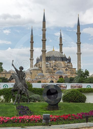 Monument of Ottoman Sultan Mehmed II in city of Edirne,...