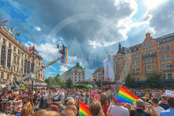 Pride parade in Stockholm and the parade going thru...