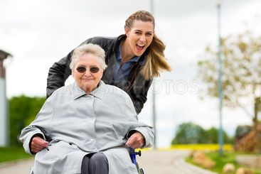 woman visiting her grandmother