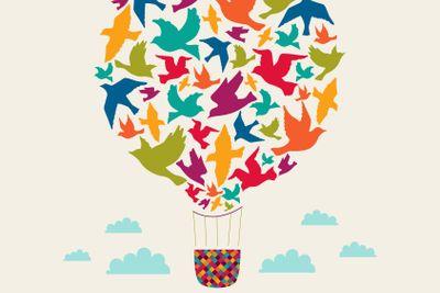 Hot air balloon with birds.