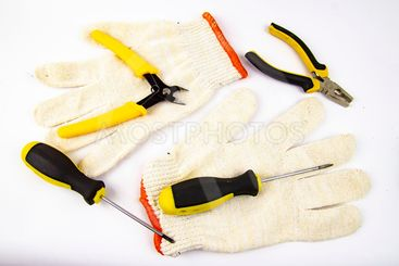 Work tool on white background - screwdriver, pliers,...