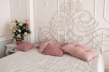 beautiful bright bedroom interior. bedroom with big bed....