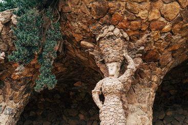 Walking alleys in the Park Guell, Barcelona, Spain.