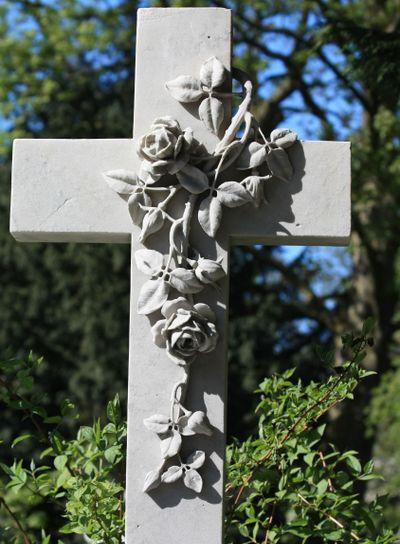 decorated cross gravestone