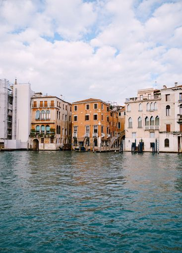 Old houses on Grand Canal, Venice, Italy. Vintage hotels...