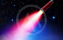 red rocket flies in space