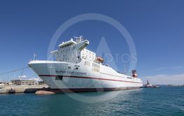 Freight ship Super Fast Levante moored Palma port