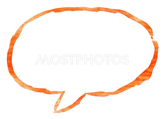 Orange ellipse speech bubble icon with watercolor paint...