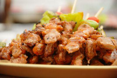 Thai cuisine barbecue chicken skewers