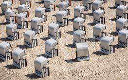 Beach chairs on the Baltic Sea coast in Goehren, Germany