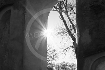 Sun through church ruin window