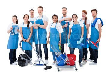 Large diverse group of janitors with equipment