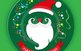 Colored silhouette of Santa Claus, red ribbon with the...