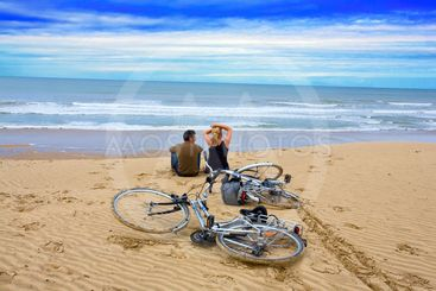 france,charente maritime,oleron island : couple and bykes...