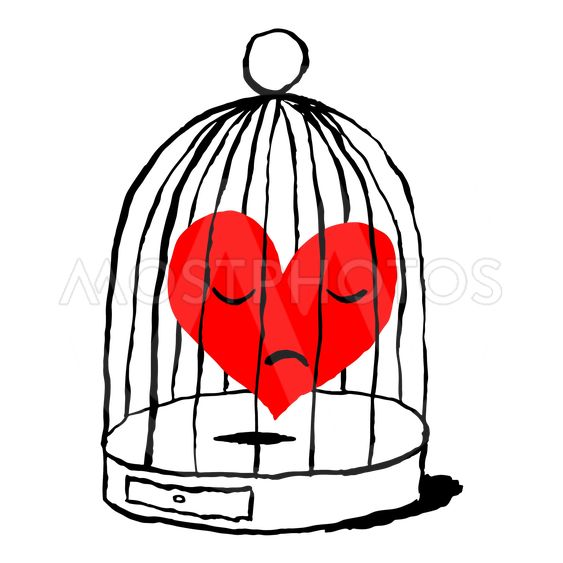 A red heart is sad in the cage for the bird