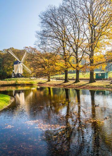 Historic Dutch scene with windmill