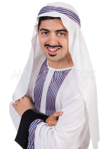 Funny arab man isolated on the white