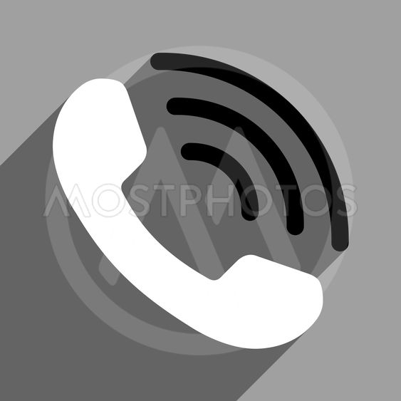 Phone Call Flat Square Icon With Long Shadow