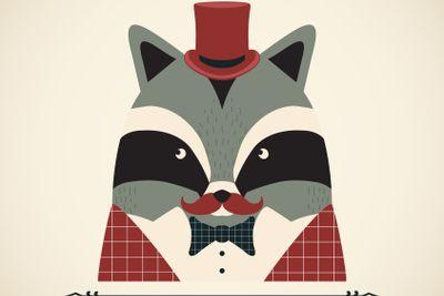 Raccoon vector card.