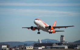 Plane of the company easyjet take off from the airport