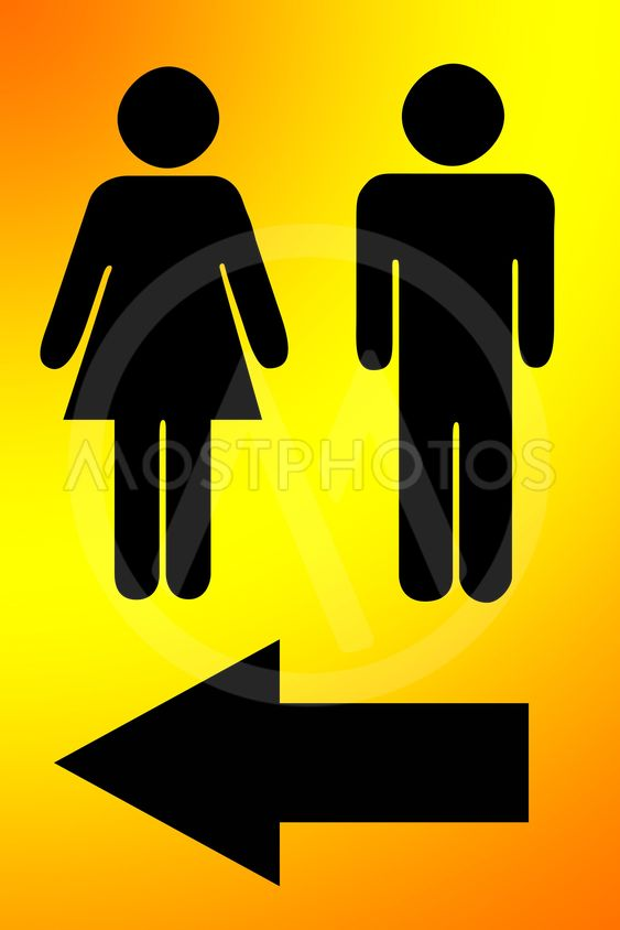 Signs to men's and women's bathrooms.