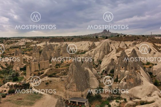 The unique landscape of Cappadocia from above.