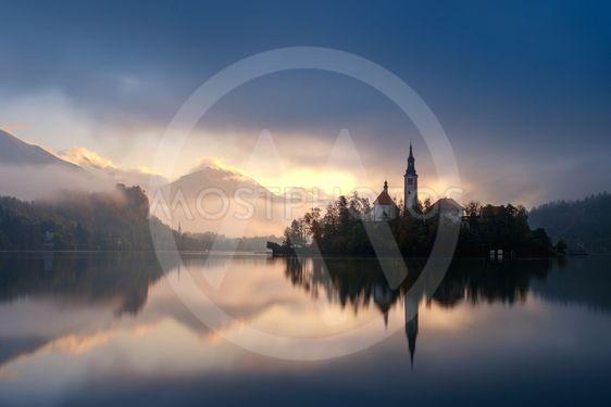Amazing sunrise at the lake Bled in autumn, Slovenia,...