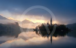 Amazing sunrise at the lake Bled in autumn, Slovenia,...