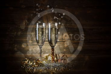 Two glass with champagne