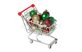 Shopping cart filled with Christmas baubles