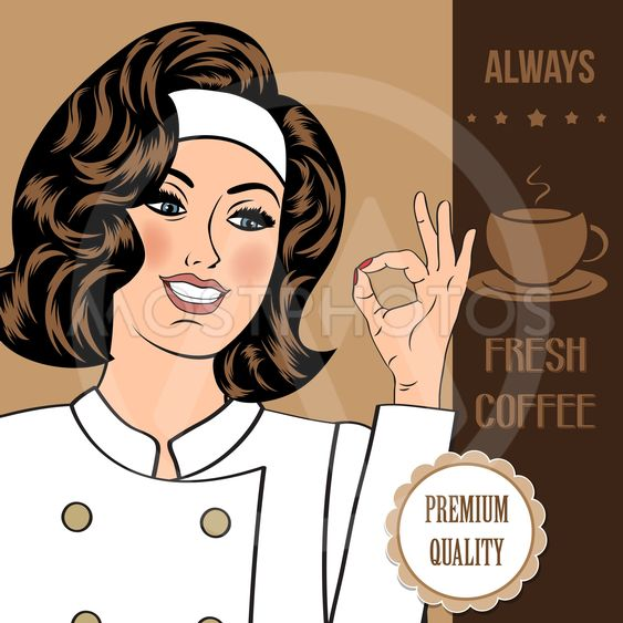 coffee advertising banner with a beautiful woman chef