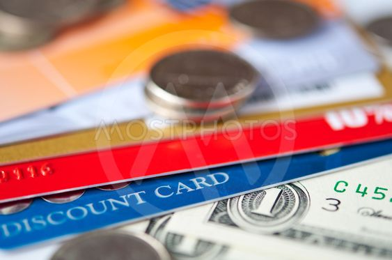 plastic cards and  money
