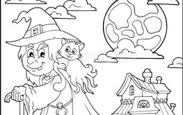Coloring book witch with cat topic 2