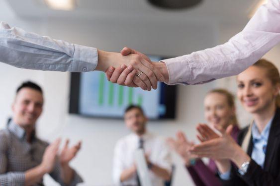 business womans handshake